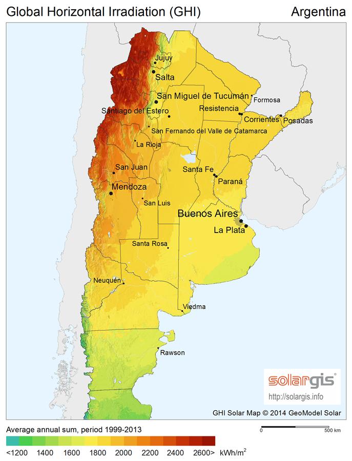 Irradiación solar en Argentina. Fuente: SolarGis